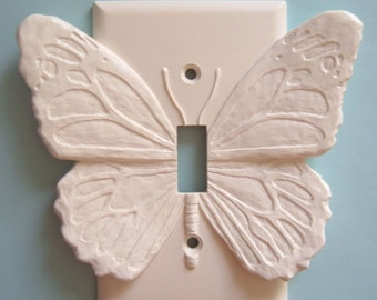 white butterfly decor light switch plate wall cover toggle switchplate outlet flowers carved sculptures ornaments decorative - Decorative Switch Plates
