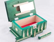 Authentic 'Kalotaszeg' Jewellery Puzzle Box Handcarved Polish Folk Art Green