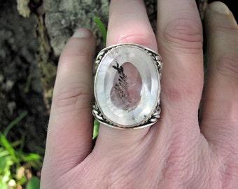 Beautiful sterling silver Dendritic quartz ring