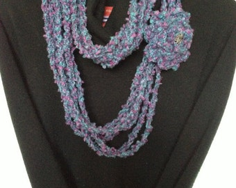 Soft Luxurious Boucle Crochet Strand Infinity Scarf with detachable brooch for women