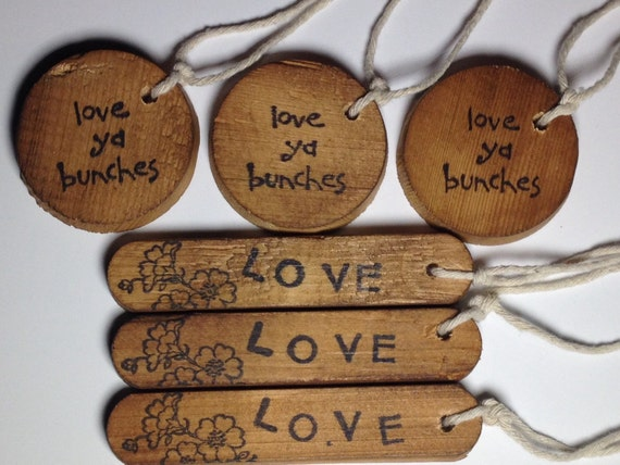 Wooden Assorted Gift Tag, long, circle, oval, rustic natural graininess, cottage, distressed