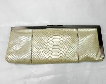 Vintage Calvin Klein snakeskin clutch vintage Calvin  Klein clutch stainless and snakeskin ivory snakeskin purse ladies pocketbook purse
