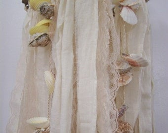 Beach wedding decor, beach Chandelier, seashell chandelier, fabric chandelier, rustic wedding decoration,