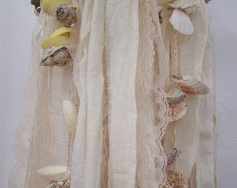 Wedding Chandelier, seashell chandelier, fabric chandelier, rustic wedding decoration, beach wedding decor