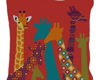 Kids Giraffe Needlepoint Pillow Canvas