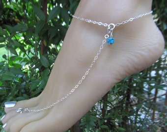 Sterling Silver Adjustable bright blue Sleeping Beauty Turquoise Anklet with Toe Ring. Customize your Ankle Bracelet