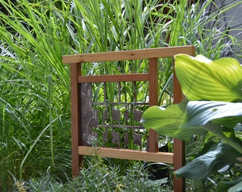 Industrial Style Unique Garden Art,  Small Cedar and Steel Garden Decor Made From Reclaimed Materials