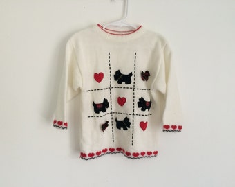 1980s GIRLS Preppy Hipster Scotty Dog Sweater with hearts and bows