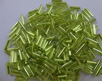Miyuki Bugle Beads Silver Lined Chartreuse Size 2