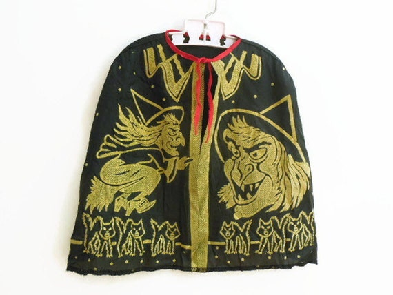 Amazing Black / Gold Vintage Halloween Costume Witch Cape
