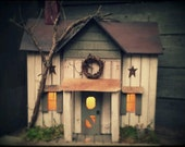 Primitive Lighted Farmhouse in Antiqued White w/ worn sage accents ~ Comes w/ light and cord ~ Birdhouse ~  Very unique