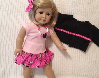 18 inch doll (modeled by American Girl) Minnie Mouse 4 piece outfit