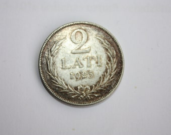 1925 ANTIQUE 2 Lat Silver Coin for collection, gift, jewelry, anniversary