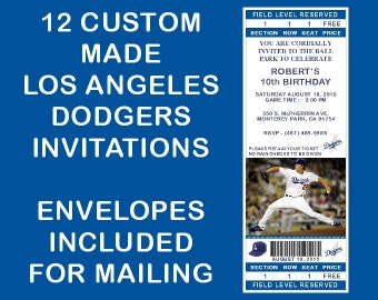 12 Personalized Los Angeles Dodgers Ticket Party Invitations - Kershaw Birthday, Wedding, Shower Or Any Event