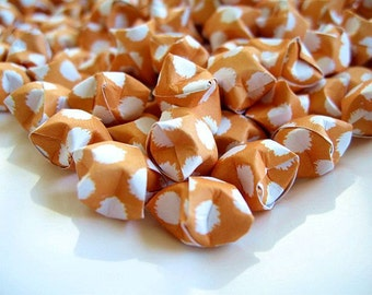 100pcs Orange White Lucky Stars, Orange White Origami Lucky Star, Origami Stars, Handmade, Orange Paper Goods, Orange Paper