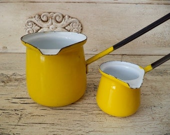 Yellow Enamel Turkish Coffee Set - Bright Yellow Turkish Coffee Pots