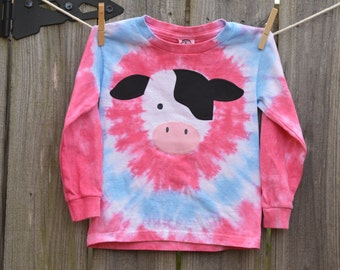 Toddler Girl Tie Dye Gray Cow Long Sleeve T-Shirt