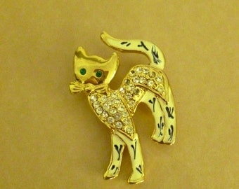 Vintage Goldtone Kitty Cat Pin - Rhinestone Green Eyed Cat Brooch - White Enamel Kitty Cat Pin