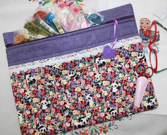 Peek a Boo Pandas on Purple Cross Stitch,Embroidery Project Bag