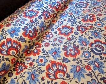 Vintage Bedspread BLUE VINES Blue COTTON Coverlet Full Size 1960s 1970s