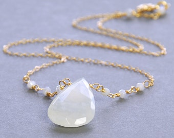 Moonstone Pendant by Agusha. White Moonstone  and Silverite Necklace. White Gemstone Necklace.