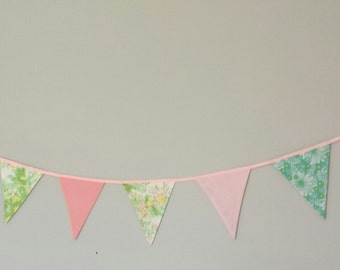 Pink and mint fabric bunting, decoration for birthday party, christening, nursery, children's bedroom