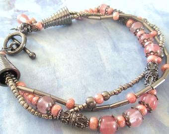 Pink Glass Bead Multistrand Bracelet, Triple Strand Bracelet, Gunmetal Bracelet, Dark Gray Seed Beads, Free Shipping, OOAK