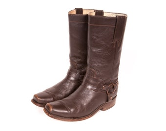 Brown Motorcycle Harness Boots Women's Size 7 .5