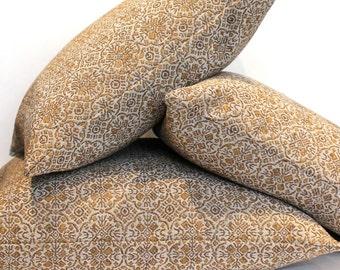 Gold Pillow Cover Medallion Upholstery Fabric Decorative Pillow Cushion Throw Pillow Cover Euro Sham 26x26 24x24 22x22 20x20 18x18 16x16