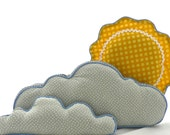 Cloud Pillows and Sun Pillow, Nursery/ Bed/ Wall Decor