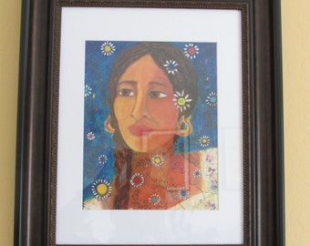 Mexican woman reproduction framed print/Mestiza print