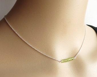 Green Peridot Necklace Sterling Silver Necklace Faceted Green Stone Necklace