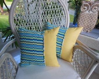 Chevron Pillow - Striped Pillow - Yellow Pillow - Navy Blue Pillow - Decorative Pillow - Reversible 15 x 15 Inch Pillow