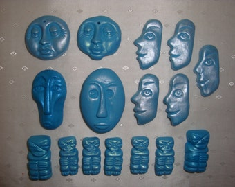 "Set of 16 Handcrafted ""pearly"" Turquoise Tiki Polymer Beads"