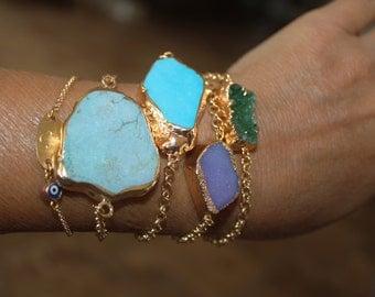Natural turquoise pendant, Turquoise stone, Druzy stone, turquoise bracelet, turquoise necklace, turquoise stone jewelry, natural stone