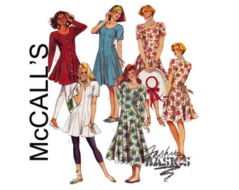 Dresses or Tunics Raglan Sleeves Fit & Flare Size 10 Bust 32 1/2 UNCUT Sewing Pattern Fashion Basics McCalls 5969 Misses dresses