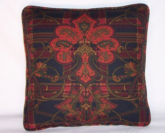 Red And Navy/Black Plaid And Paisley Throw Pillow By