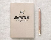 Travelers Notebook Adventure Companion Travel Journal & Gold Foil Pencil Set, Stocking Stuffer Brown Recycled Notebook - Hand Lettered