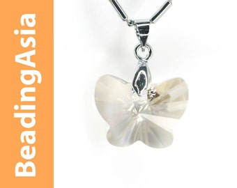 1pcs Swarovski Element - Silver Shade Butterfly Pendant Necklace with Gift Box (950-128)