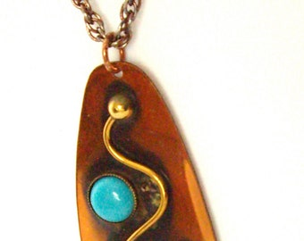 Vintage Copper Goldtone Turquoise Made in Mexico Necklace 1958