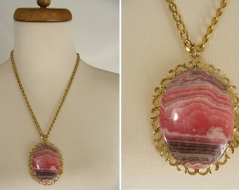 """Rhodochrosite Pendant. Heart Chakra Stone. Natural Rhodochrosite. Big Oval Cabochon Necklace. vintage in a Brass Setting and chain 2"""" x 1.5"""""""