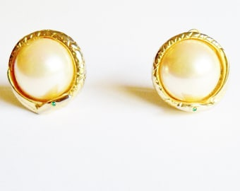 Vintage Faux Pearl Earrings with Snakes around the edges Gift for Her Birthday Christmas Figural
