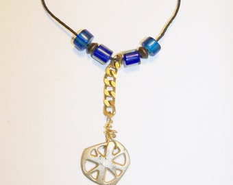 Cross Pendant Chi Rho Handmade Silver Tone Blue Beads Adjustable Leather Cord Clergy Gift Men Women