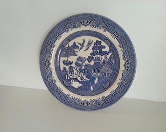 single vintage blue and white willow plate . vintage earthenware. cottage chic decor signed Made in England willow blue plate Staffordshire