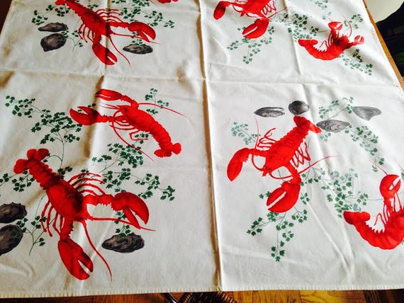 Vintage lobster tablecloth paper tag