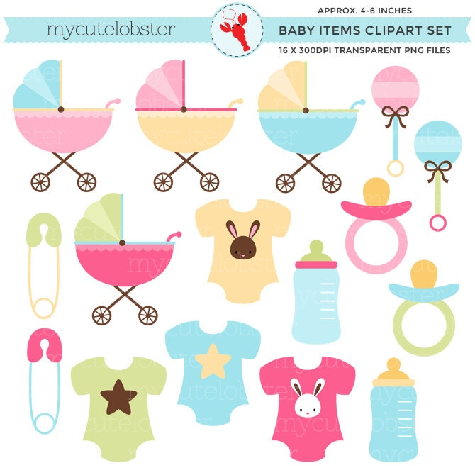Baby Items Clipart Set clip art set of strollers clothes