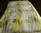 RESERVED - Yellow and Cream Plaid Vintage Fabric - Three Yards