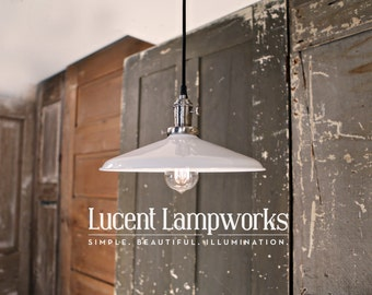 "Industrial Lighting with 12"" White Metal Shade and Exposed Socket"