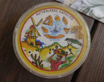 Vintage 1960s to 1970s Round Playing Cards Souvenir Netherlands Antilles Not Full Deck In Plastic Box Repurpose/Recycle/Reuse