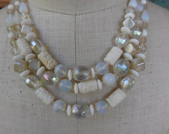 Vintage 1950s to 1960s Glass Beaded White Necklace Silver Tone Iridescent West Germany Triple Strand Adjustable
